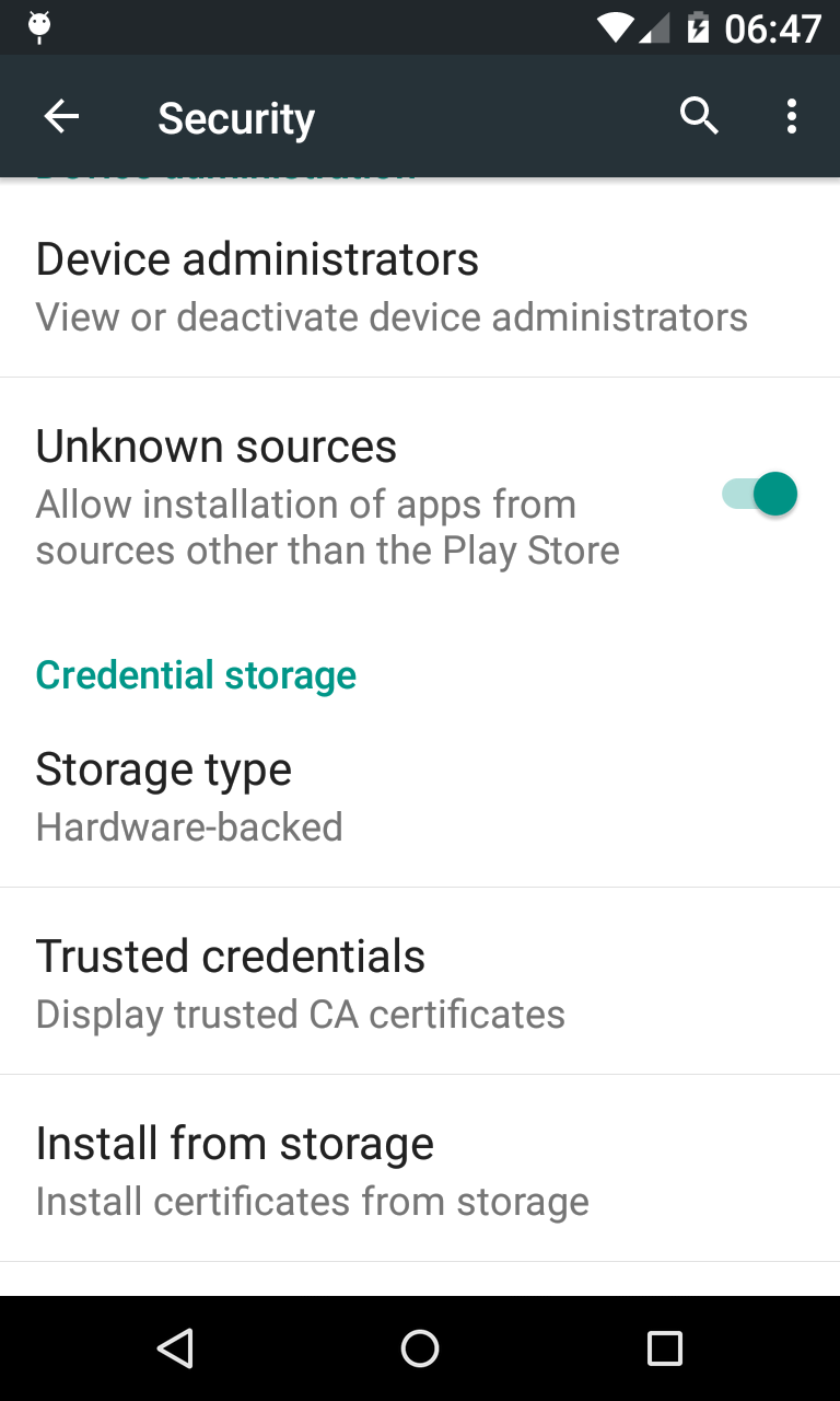 Enable Unknown sources